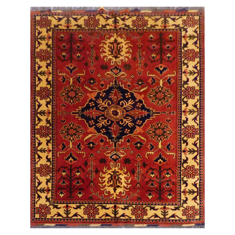 AFGHANI  HAND-KNOTTED RUG MADE WITH NATURAL WOOL AND COTTON 7'2'' X 5'4''  ABC0