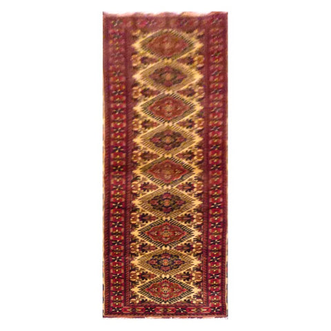 AFGHANI  HAND-KNOTTED RUG MADE WITH NATURAL WOOL AND COTTON 2'8'' X 9'9''  ABC20730