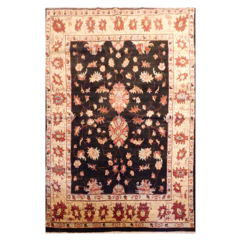 AFGHANI  HAND-KNOTTED RUG MADE WITH NATURAL WOOL AND COTTON 5'4'' X 8'  ABC21287