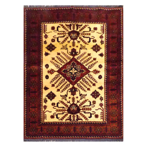 AFGHANI  HAND-KNOTTED RUG MADE WITH NATURAL WOOL AND COTTON 5'1'' X 6'5''  ABC131304