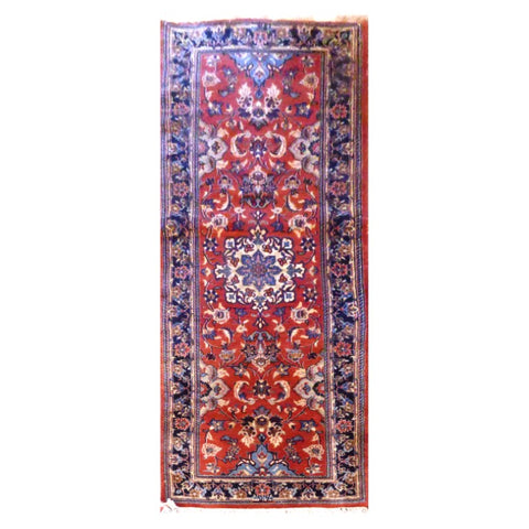PERSIAN YAZD  HAND-KNOTTED RUG MADE WITH NATURAL WOOL AND COTTON 8'2'' X 2'6''  ABC2459
