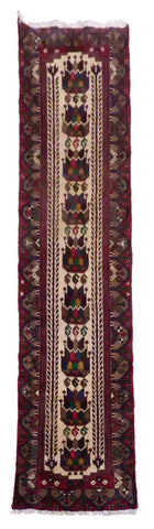 "IRANIAN SAVEH HAND-KNOTTED RUG MADE WITH NATURAL WOOL & COTTON COLOR RED & BLACK 9'5"" X 2'7"" ABC0"