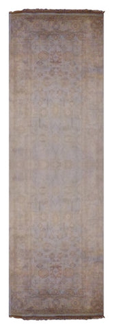 "IRANIAN  HAND-KNOTTED KILIMS MADE WITH NATURAL WOOL & COTTON COLOR BEIGE 11'11"" X 2'2"" ABC16804"