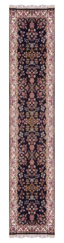 "INDIAN TRANSITIONAL HAND-KNOTTED RUG MADE WITH NATURAL WOOL & COTTON COLOR NAVY BLUE 12' X 2'9"" ABC847"