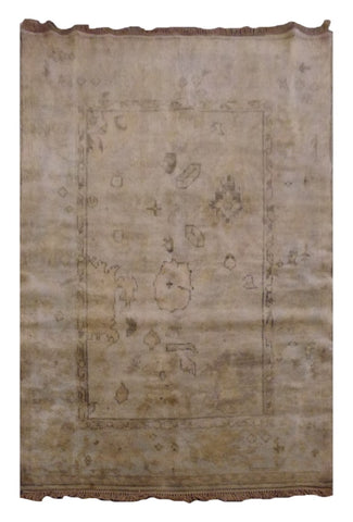 "INDIAN TRADITIONAL HAND-KNOTTED RUG MADE WITH NATURAL WOOL & COTTON COLOR BEIGE 6' X 3'11"" ABC1679"