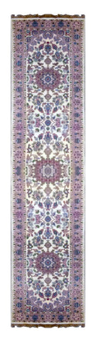 "INDIAN PERSIAN HAND-KNOTTED RUG MADE WITH NATURAL WOOL & COTTON COLOR BEIGE 10'3"" X 2'3"" ABC0"