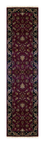 "INDIAN TRANSITIONAL HAND-KNOTTED RUG MADE WITH NATURAL WOOL & COTTON COLOR BROWN 9'11"" X 2'7"" ABC814"
