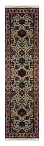 "INDIAN TRADITIONAL HAND-KNOTTED RUG MADE WITH NATURAL WOOL & COTTON COLOR GREEN 9'7"" X 2'7"" ABC2717"