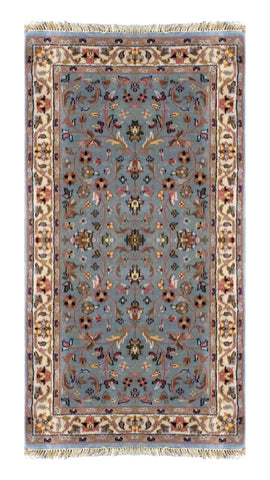 "INDIAN KASHAN HAND-KNOTTED RUG MADE WITH NATURAL WOOL & COTTON COLOR MULTI 4'11"" X 2'11"" ABC2675"