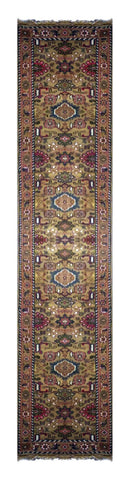 "INDIAN TRADITIONAL HAND-KNOTTED RUG MADE WITH NATURAL WOOL & COTTON COLOR CAMEL 15'8"" X 2'7"" ABC2718"