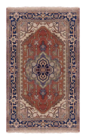 INDIAN TRANSITIONAL HAND-KNOTTED RUG MADE WITH NATURAL WOOL & COTTON COLOR RED 5' X 3' ABC3092