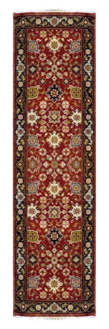 "INDIAN MAHAL HAND-KNOTTED RUG MADE WITH NATURAL WOOL & COTTON COLOR RED 8' X 2'6"" ABC20766"