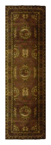 "INDIAN AGRA HAND-KNOTTED RUG MADE WITH NATURAL WOOL & COTTON COLOR MULTI 9'8"" X 2'6"" ABC0"