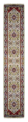 INDIAN SERAPI HAND-KNOTTED RUG MADE WITH NATURAL WOOL & COTTON COLOR MULTI 17'9 X 2'7 ABC20083