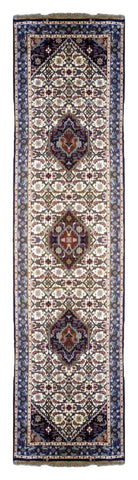 INDIAN TRANSITIONAL HAND-KNOTTED RUG MADE WITH NATURAL WOOL & COTTON COLOR CREAM 9'10 X 2'8 ABC3068