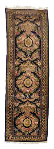 INDIAN KASHMIR HAND-KNOTTED RUG MADE WITH NATURAL WOOL & COTTON COLOR MULTI 12'6 X 2'0 ABC0