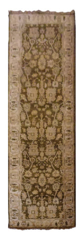 INDIAN CUSHAK HAND-KNOTTED RUG MADE WITH NATURAL WOOL & COTTON COLOR MULTI 11'10 X 3'0 ABC0
