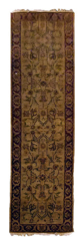 INDIAN TRANSITIONAL HAND-KNOTTED RUG MADE WITH NATURAL WOOL & COTTON COLOR BEIGE 9'9 X 2'6 ABC2368