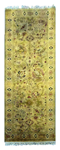 INDIAN  HAND-KNOTTED RUG MADE WITH NATURAL WOOL & COTTON COLOR MULTI 7'8 X 2'10 ABC3128