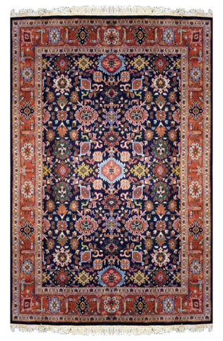 INDIAN TRANSITIONAL HAND-KNOTTED RUG MADE WITH NATURAL WOOL & COTTON COLOR MULTI 8'10 X 6'2 ABC851