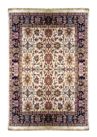 INDIAN TRANSITIONAL HAND-KNOTTED RUG MADE WITH NATURAL WOOL & COTTON COLOR MULTI 8'9 X 5'11 ABC2691