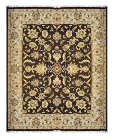INDIAN TRANSITIONAL HAND-KNOTTED RUG MADE WITH NATURAL WOOL & COTTON COLOR BEIGE 8'11 X 6'10 ABC3038