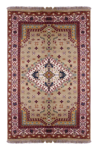 INDIAN TRADITIONAL HAND-KNOTTED RUG MADE WITH NATURAL WOOL & COTTON COLOR CAMEL 5'10 X 3'10 ABC2723