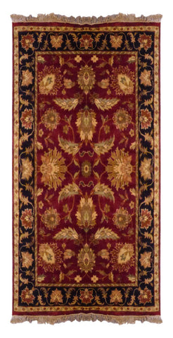 INDIAN TRADITIONAL HAND-KNOTTED RUG MADE WITH NATURAL WOOL & COTTON COLOR RED 5'11 X 4'0 ABC2387