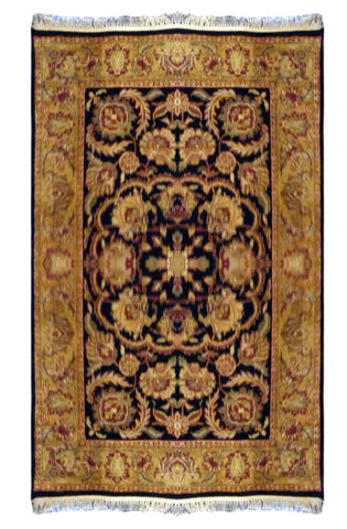 INDIAN  HAND-KNOTTED RUG MADE WITH NATURAL WOOL & COTTON COLOR MULTI 6'0 X 3'11 ABC447