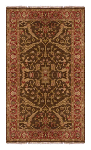 "INDIAN OUSHAK HAND-KNOTTED RUG MADE WITH NATURAL WOOL & COTTON COLOR BROWN 8' X 4'10"" ABC6034"