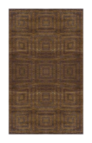 "INDIAN MODERN HAND-KNOTTED RUG MADE WITH NATURAL WOOL & COTTON COLOR CARAMEL 5'6"" X 3'6"" ABC1114"