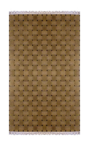 "INDIAN MODERN HAND-KNOTTED RUG MADE WITH NATURAL WOOL & COTTON COLOR BEIGE 5'3"" X 3' ABC2321"