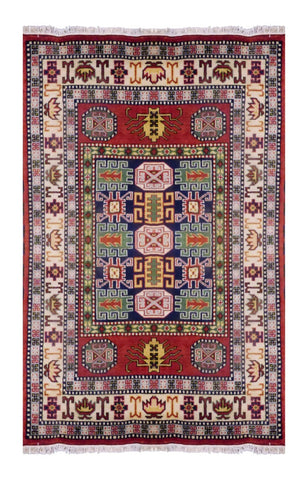INDIAN GEOMATRIC HAND-KNOTTED RUG MADE WITH NATURAL WOOL & COTTON COLOR GREEN 6'6 X 4'9 ABC2269