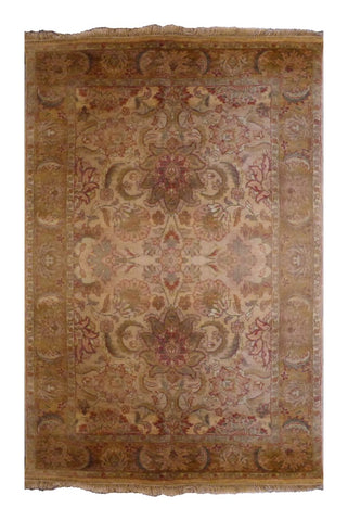 "INDIAN TRADITIONAL HAND-KNOTTED RUG MADE WITH NATURAL WOOL & COTTON COLOR GOLD/IVORY 6'2"" X 4'0"" ABC2732"