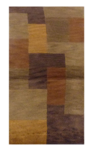 "INDIAN TRANSITIONAL HAND-KNOTTED RUG MADE WITH NATURAL WOOL & COTTON COLOR MULTI 8'0"" X 2'3"" ABC1128"