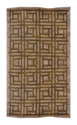 "INDIAN MODERN HAND-KNOTTED RUG MADE WITH NATURAL WOOL & COTTON COLOR L.GREEN/GOLD 4'6"" X 2'6"" ABC1105"