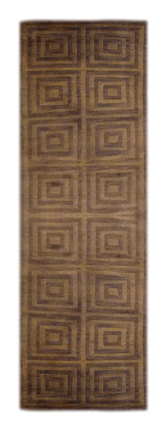 "INDIAN MODERN HAND-KNOTTED RUG MADE WITH NATURAL WOOL & COTTON COLOR GREE/BROWN 8'0"" X 2'4"" ABC3137"