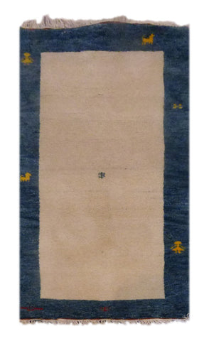 "INDIAN CONTEMPORARY HAND-KNOTTED RUG MADE WITH NATURAL WOOL & COTTON COLOR L GREEN 4'5"" X 2'5"" ABC3191"