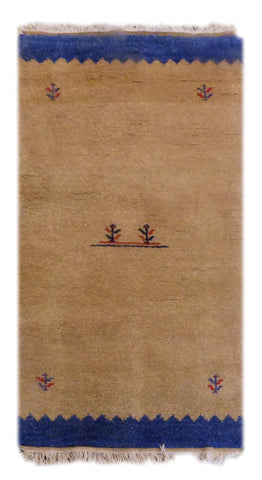 "INDIAN CONTEMPORARY HAND-KNOTTED RUG MADE WITH NATURAL WOOL & COTTON COLOR BEIGE 4'5"" X 2'5"" ABC2237"