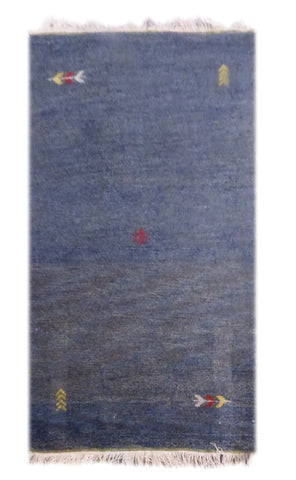 "INDIAN CONTEMPORARY HAND-KNOTTED RUG MADE WITH NATURAL WOOL & COTTON COLOR BLUE 5'5"" X 3' ABC2240"