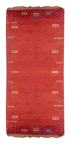 "INDIAN CONTEMPORARY HAND-KNOTTED RUG MADE WITH NATURAL WOOL & COTTON COLOR RUST 8' X 2'7"" ABC2615"