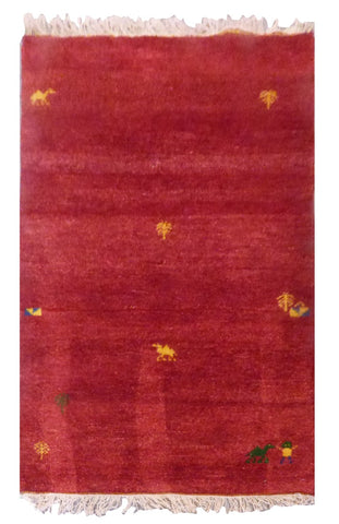 INDIAN GABBEH HAND-KNOTTED GABBEH MADE WITH NATURAL WOOL & COTTON COLOR RED 5' X 3' ABC2243