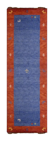 "INDIAN TRADITIONAL HAND-KNOTTED RUG MADE WITH NATURAL WOOL & COTTON COLOR RED/BLUE 8'10"" X 2'4"" ABC2643"