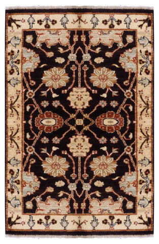 "PAKISTANI TRANSITIONAL HAND-KNOTTED RUG MADE WITH NATURAL WOOL & COTTON COLOR ANTIQUE WASH 4'03"" X 2'5"" ABC1723"