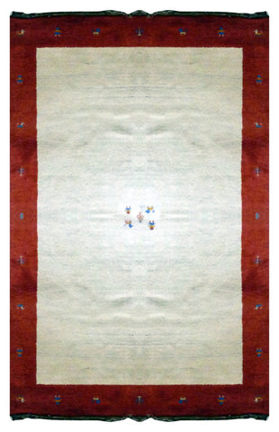 "INDIAN TRADITIONAL HAND-KNOTTED RUG MADE WITH NATURAL WOOL & COTTON COLOR BEIGE 9'10"" X 6'5"" ABC2601"