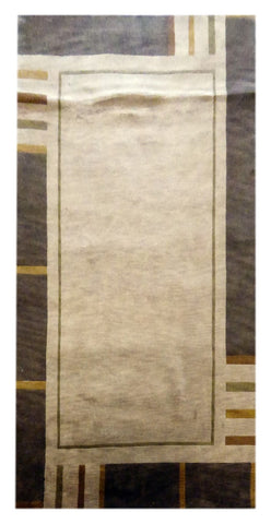 "INDIAN MODERN HAND-KNOTTED RUG MADE WITH NATURAL WOOL & COTTON COLOR BEIGE 8'0"" X 5'0"" ABC1121"