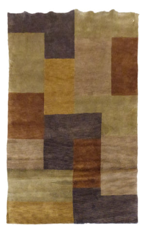 "INDIAN MODERN HAND-KNOTTED RUG MADE WITH NATURAL WOOL & COTTON COLOR MULTI 8'0"" X 5'0"" ABC1127"