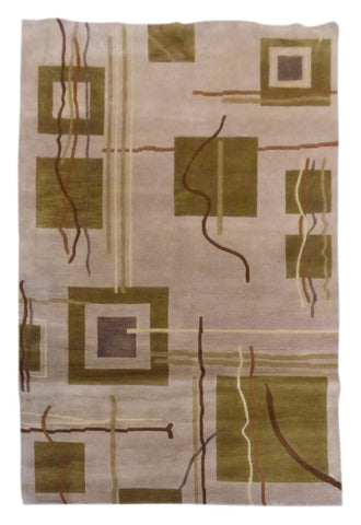 "INDIAN MODERN HAND-KNOTTED RUG MADE WITH NATURAL WOOL & COTTON COLOR IVORY 8'0"" X 5'0"" ABC1192"