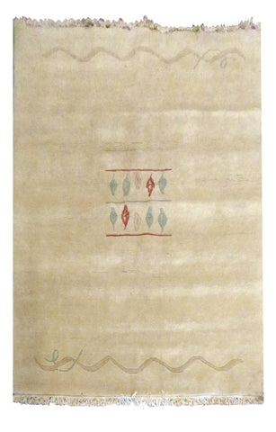 "INDIAN KHATMANDU HAND-KNOTTED RUG MADE WITH NATURAL WOOL & COTTON COLOR WHITE 7'10"" X 5'8"" ABC2123"