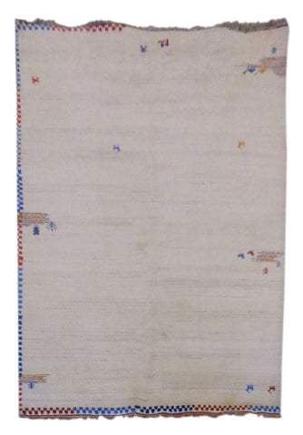 "INDIAN CONTEMPORARY HAND-KNOTTED RUG MADE WITH NATURAL WOOL & COTTON COLOR BEIGE 9'1"" X 6'7"" ABC2634"